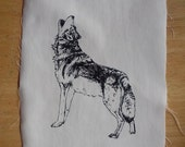 Howling Wolf Silk Screen Print Patch Black and White on cotton canvas Original Illustration