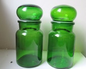 Vintage Apothecary Jars - Green Glass  - Bubble Top - set of Two 2