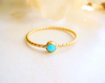 Gold-Filled Dainty Sleeping Beauty Turquoise Ring Twisted Rope Ring Turquoise Stacking Ring Promise Ring - made to order in your finger size
