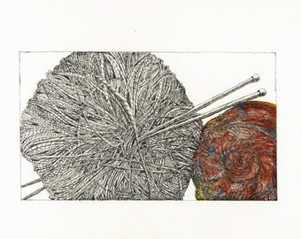 Knitting Skein with Needles in Watercolor and Ink