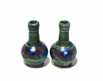 Antique Dollhouse Vase Pair Miniature Pottery Vases a la Gouda Holland