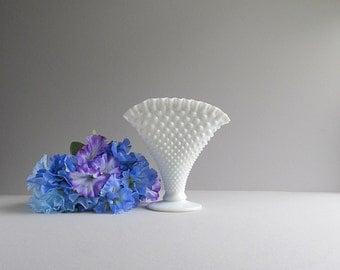 Large Milk Glass Hobnail Vase, Wedding Vase, Flower Vase, Hobnail Fenton Fan Vase, Tall Milk Glass Vase