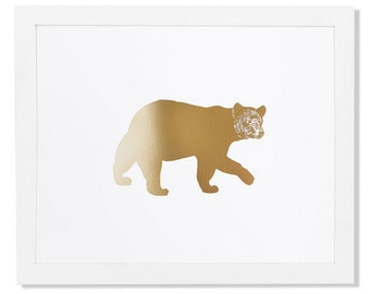 Bear Gold Foil Art Print