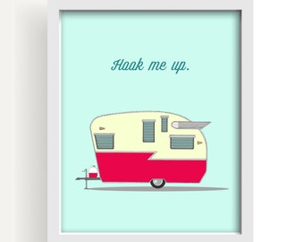 vintage camper, shasta, mid century modern, art, camper, humor, blue, kids room art, large wall art, large art, wood art block, red, wings
