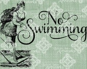 Digital Download Swimmer Girl, No Swimming Sign, Take the Plunge, Diver Diving Vintage digi stamp, Typography, Script Font Iron On Transfer