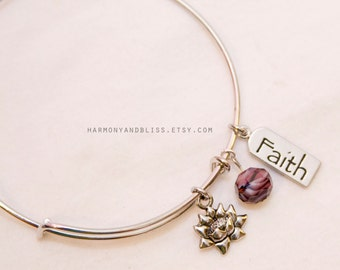 Faith charm bracelet, lotus jewelry, faith jewelry, Lotus flower bracelet, faith bangle, flower charm bracelet, lotus charm, lotus jewelry