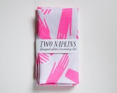 Two Linen Napkins - screen printed hot pink hands