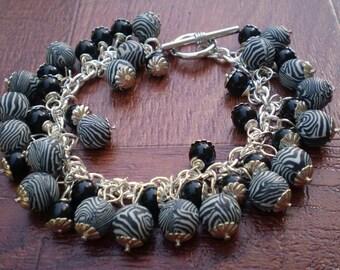 SALE Black and White Beaded Bracelet, Polymer Clay, Zebra stripe design, black and white, glass beads, Cluster SALE