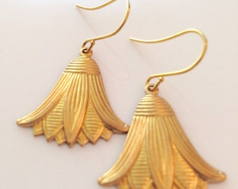 Loural Boho Chic Brass Tassel Pendant Earrings