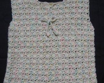 Handcrocheted Shaded White Sleeveless Top for Ladies