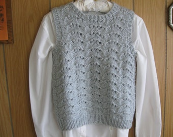 Gray Handknit Vest with Lace Fan Design for Ladies