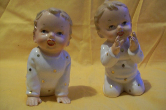 Piano Babies, 2 Baby Boy Piano Babies, Made in Japan, 1950's, vintage,collector, decoration, gift,  piano decoration, porcelain, home decor