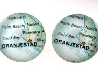 Oranjestad Palm Beach Aruba Map Cufflinks