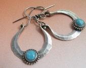 Artisan Turquoise Earrings, Metalsmith Earrings, Hammered Sterlng Silver Hoop Earrings, Kingman Turquoise Jewelry Blue Gemstone Earrings