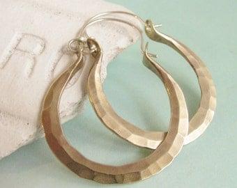 Hammered Hoops, Sterling Silver And Brass Earrings, Mixed Metal Hoops, Metalsmithed Hoop Earrings, Brass Hoops, Forged Earrings