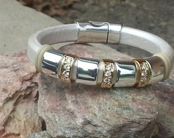 10mm Regaliz Licorice Leather Bangle Bracelet with Gold CZ Spacers and Silver  Slider
