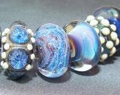 Lampwork Bead Set SRA Handmade OOAK Glass Beads Set Moody Blues