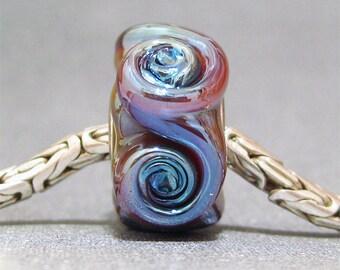 Handmade Lampwork Bead Glass Big Hole Euro Charm Bead Terra Rosette