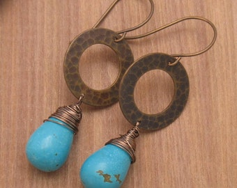 Turquoise Drops on Antique Brass Hammered Circle Earrings