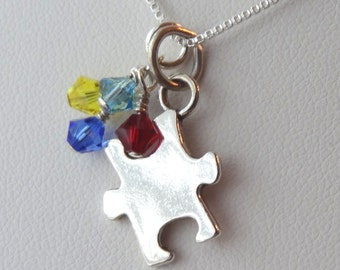 Sterling Silver Puzzle Piece Necklace, Sterling Silver Puzzle Jewelry, Autism Necklace, Autism Awareness, Perzonalized Puzzle Necklace