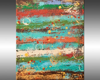 Rustic Industrial 19 - Art Painting, Original Abstract Painting, Modern Art, Copper Turquoise Gold Canvas Wall Art, Contemporary Art
