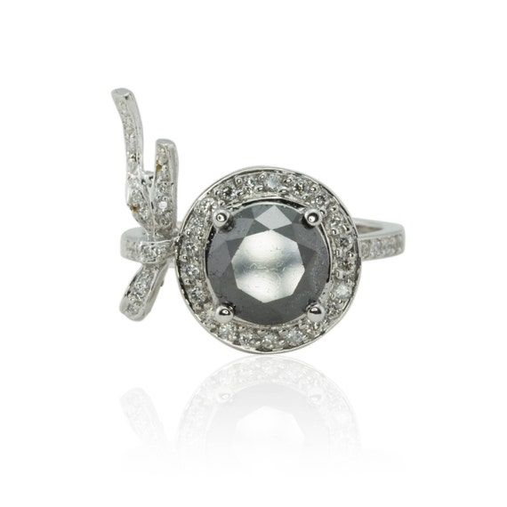Black Diamond Ring, Black and White Diamond Bow Ring for your little black dress - Laurie Sarah Designs Signature Ring - LS246