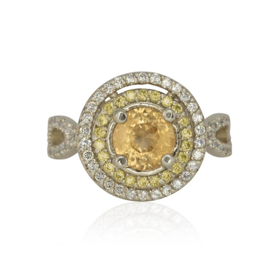 Halo Engagement Ring, Round Hessonite Garnet Ring with Yellow Sapphire and Diamond Double Halo - Empress Collection - LS1774