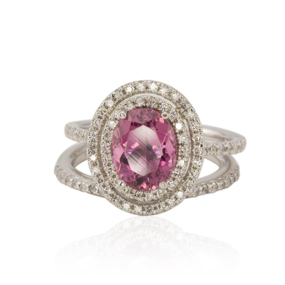 Pink Engagement Ring, Pink Tourmaline Diamond Double Halo Engagement Ring with matching Wedding Band - LS1063