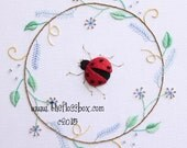 Ladybug Wreath Stumpwork Embroidery