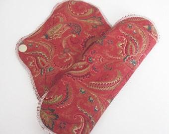 Set of 2 Cloth Mama Pad Pantyliner 8 inch - Burgundy Paisley Print FREE Shipping