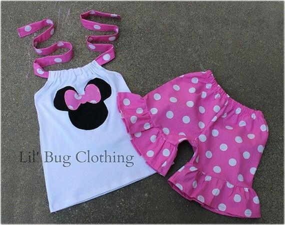 Custom Boutique Clothing Bubble Gum Dots Light Pink Minnie Mouse Short Set