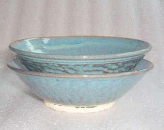 Set of 2 Small Blue Bowls - Wheel Thrown Pottery Nesting Bowls with Chattering for Texture