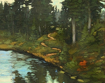 At Back Country Pond - Giclee Fine Art PRINT of Original Painting matted 16x20 by Jan Schmuckal