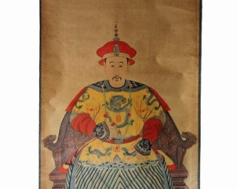 Antique Chinese Ancestor Portrait Painting - hanging scroll - ink and color on paper - Scroll102
