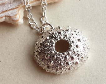Sea Urchin Necklace - Sterling Silver - Bumpy - Spiky - Nature Inspired - Organic - Cottage Chic - Beachy - Beach Wedding - Shell Necklace