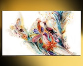 Abstract Oriental print on canvas Splash Of Life violet red blue yellow colors white background Large giclee prints Flowers & Birds panting