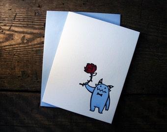 Letterpress Love Token Monster Card - single