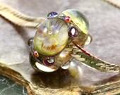 Golden Webs Galaxy betsybeads Handmade Lampwork Bead Large Hole Glass Bead BHB SRA 56346