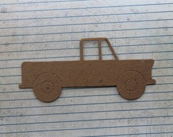 Pick up Truck vehicle bare chipboard diecuts 5 1/8 inches long x 2 1/4 inch tall approx.