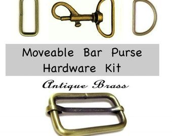 "1 SET - 1 1/2"" - Metal Handbag Purse Hardware Kit - Moveable Bar Slide, Dring, Loop and Swivel SET - Nickel Plate or Antique Brass"