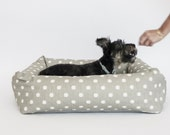 Bolster Bed, grey ikat dot with solid grey cushion