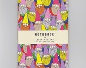 A6 Mini Notebook - Mister Gnome - a colourful pattern of garden gnomes
