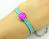 4pcs Turquoise  bracelet With 12mm Round Silver Cameo Setting, Adjustable, Multi-Color Choosing