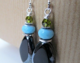 Fern Green, Turquoise Blue and Black Czech Glass Beaded Sterling Silver Earrings