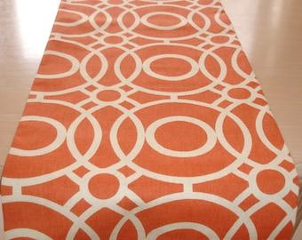 "60"" Table Runner Orange And Ivory Geometric 5ft Retro Funky Design Cream Circles 150cm"
