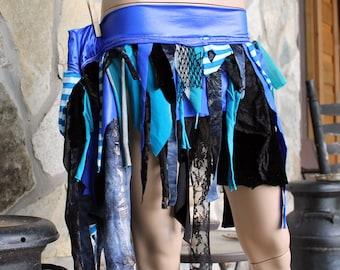 Mermaid Tattered Skirt, royal blue and black festival skirt, mini tutu skirt, shabby chic skirt, tribal belly dance shimmy skirt, Large Size
