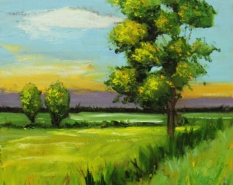 Landscape painting 257 16x20 inch original impasto impressionistic oil painting by Roz
