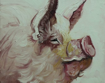 Pig painting 185 12x12 inch original oil painting by Roz