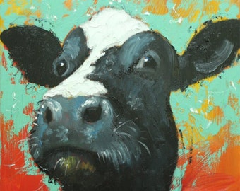 Cow painting 1000 18x18 inch animal original oil painting by Roz