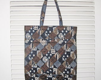 Quilted Handy Tote Japanese Asian Diagonal Patchwork Look Design